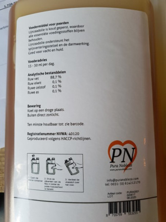Pura Nobleza Lijnzaad Olie 1 liter